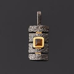 Кулон янтарь Россия (серебро 925 пр., позолота)