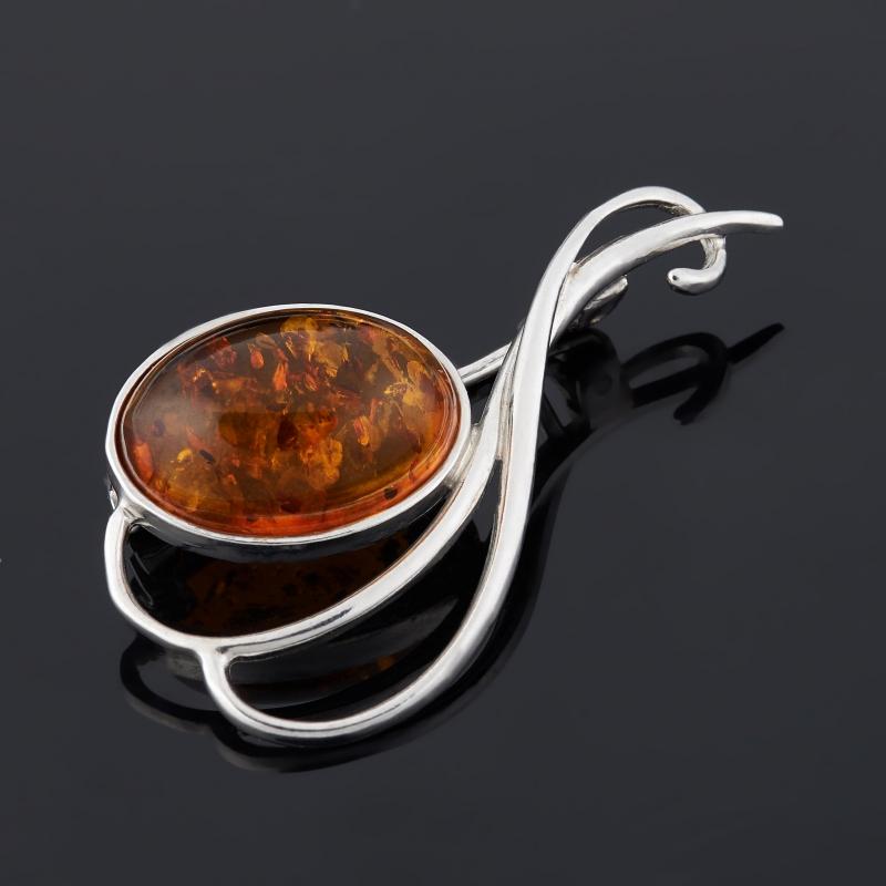 Брошь янтарь (серебро 925 пр.)