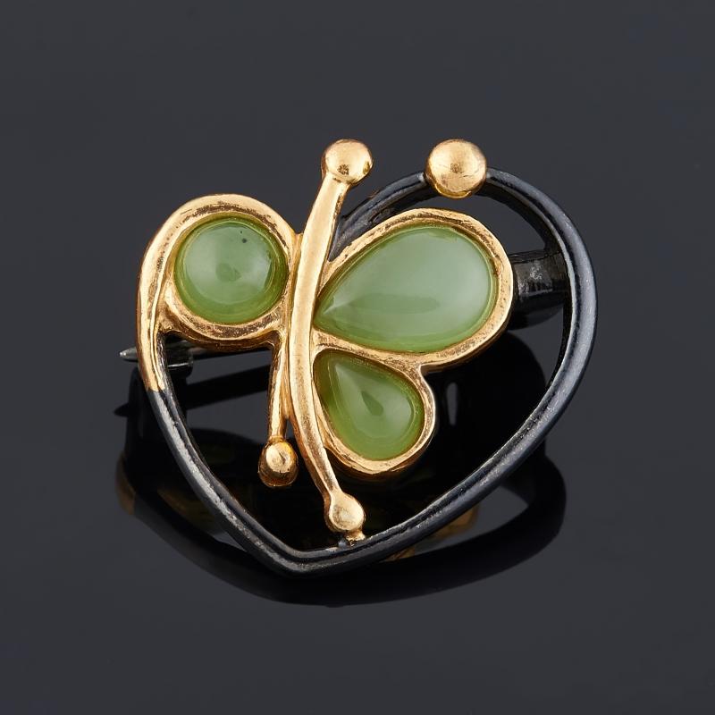 Брошь нефрит зеленый (серебро 925 пр., позолота)