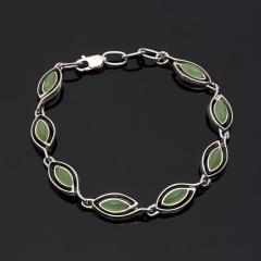 Браслет нефрит зеленый Россия 18 см (серебро 925 пр.)