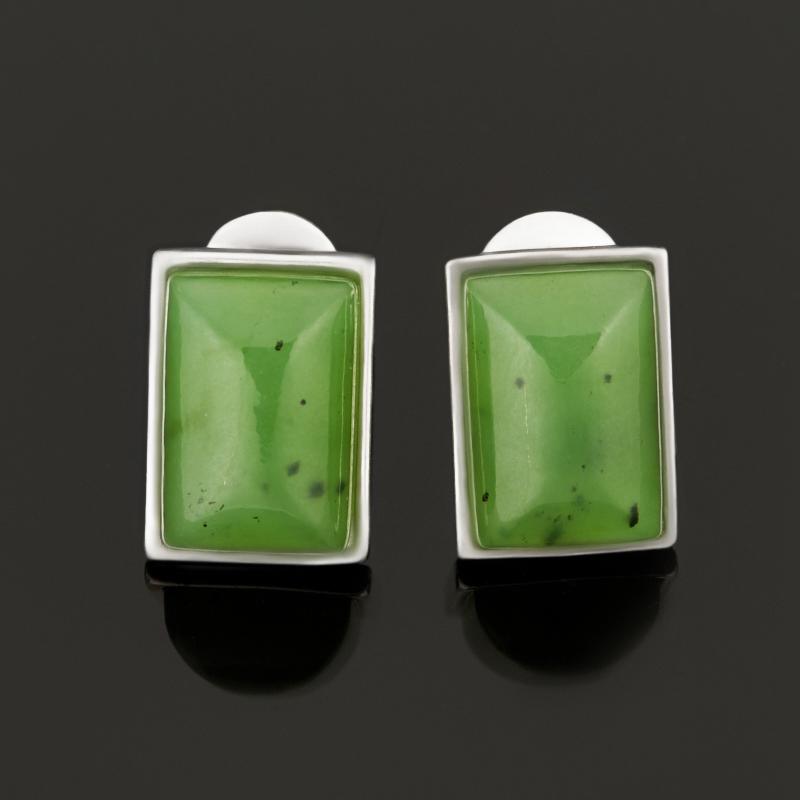 Серьги нефрит зеленый пуссеты (серебро 925 пр.) серьги нефрит серебро 925 пр