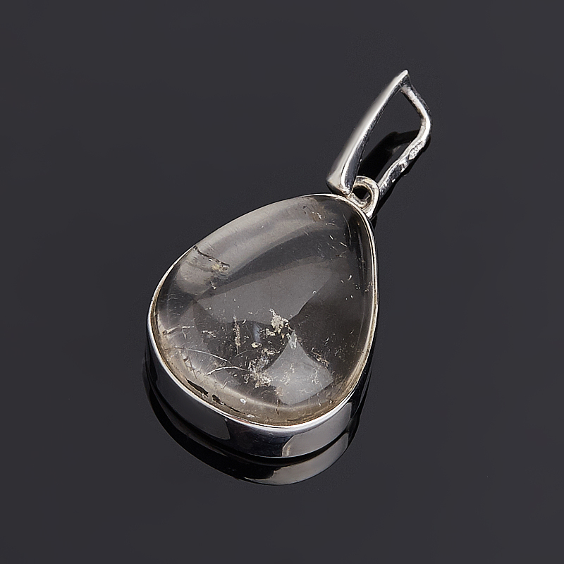 Кулон горный хрусталь Бразилия капля (серебро 925 пр.)