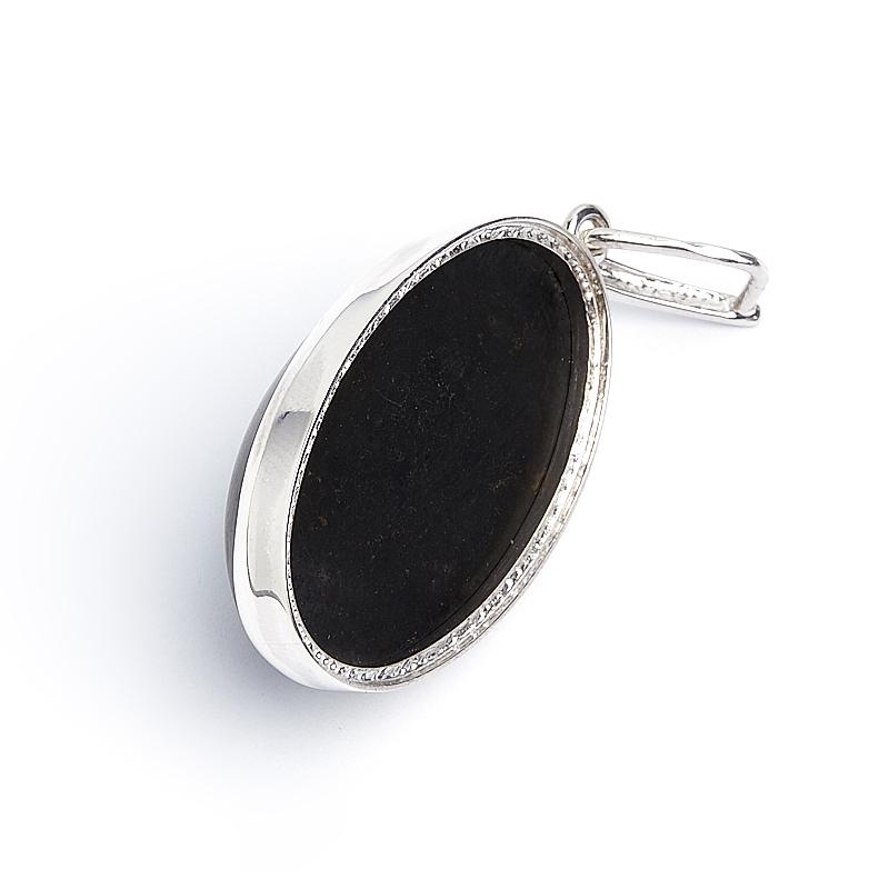 Кулон гагат матовый Грузия овал (серебро 925 пр.)