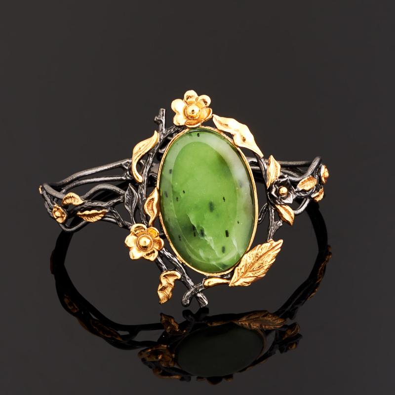 Браслет нефрит зеленый 18-21 см (серебро 925 пр., позолота) браслет классика 8 нефрит револю