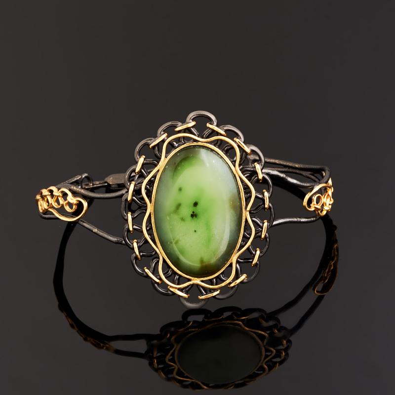 Браслет нефрит зеленый 18-22 см (серебро 925 пр., позолота)