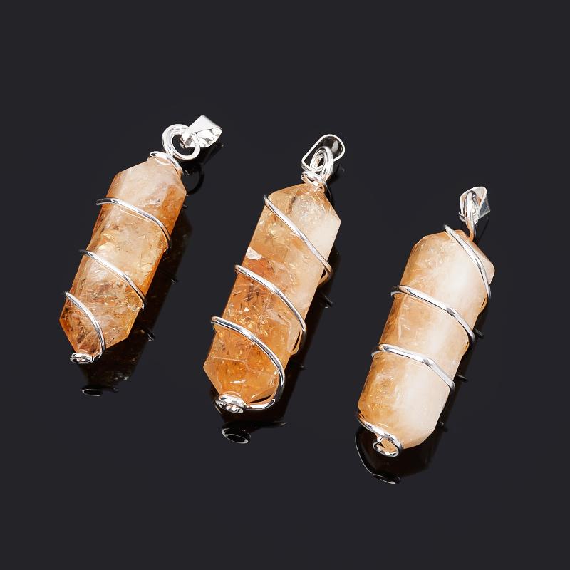 Кулон кристалл цитрин Бразилия (биж. сплав) 5-6 см