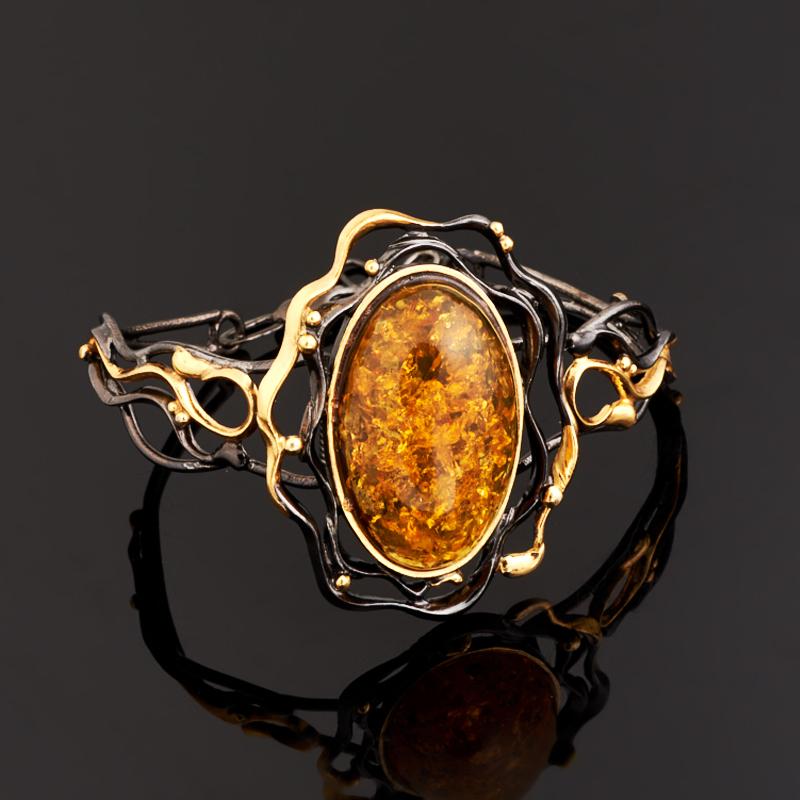 Браслет янтарь пресс 18-21 см (серебро 925 пр., позолота)