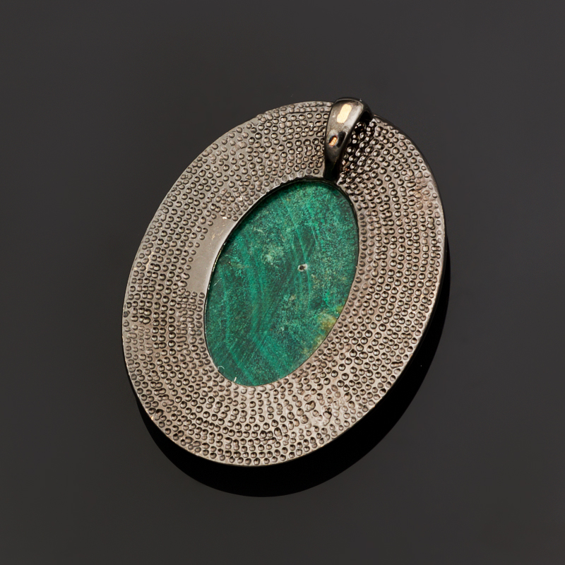 Кулон малахит Конго овал (серебро 925 пр., позолота)