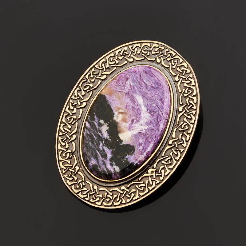 Кулон чароит овал (серебро 925 пр., позолота)