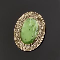 Кулон нефрит зеленый Россия овал (серебро 925 пр., позолота)