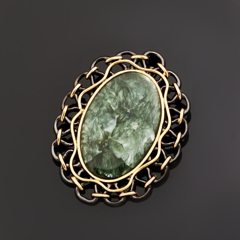 Кулон клинохлор (серафинит) (серебро 925 пр., позолота)
