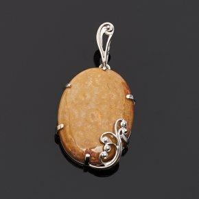 Кулон коралл Индонезия овал (серебро 925 пр.)