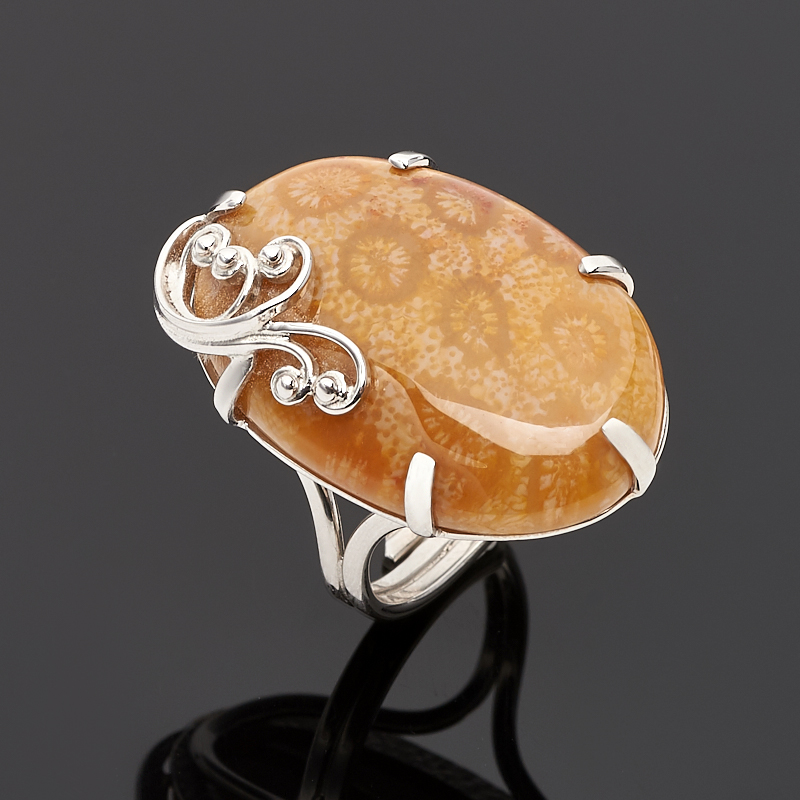 Кольцо коралл (серебро 925 пр.) размер регулируемый