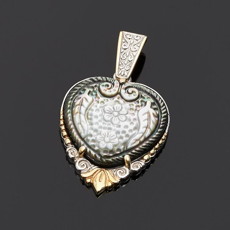 Кулон перламутр черный сердечко (серебро 925 пр., позолота)