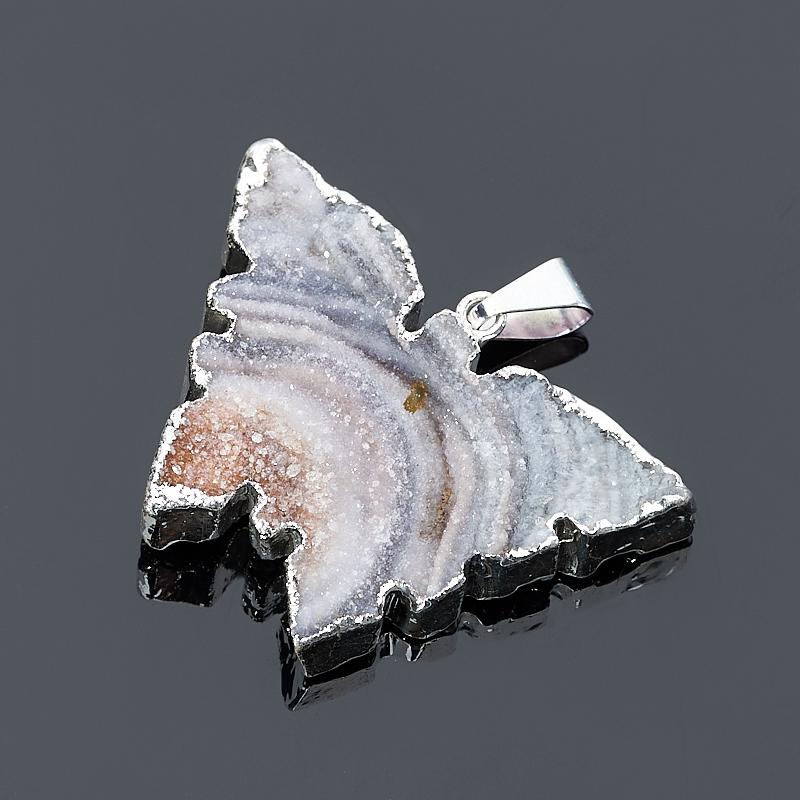 Кулон агат серый Ботсвана бабочка (биж. сплав)