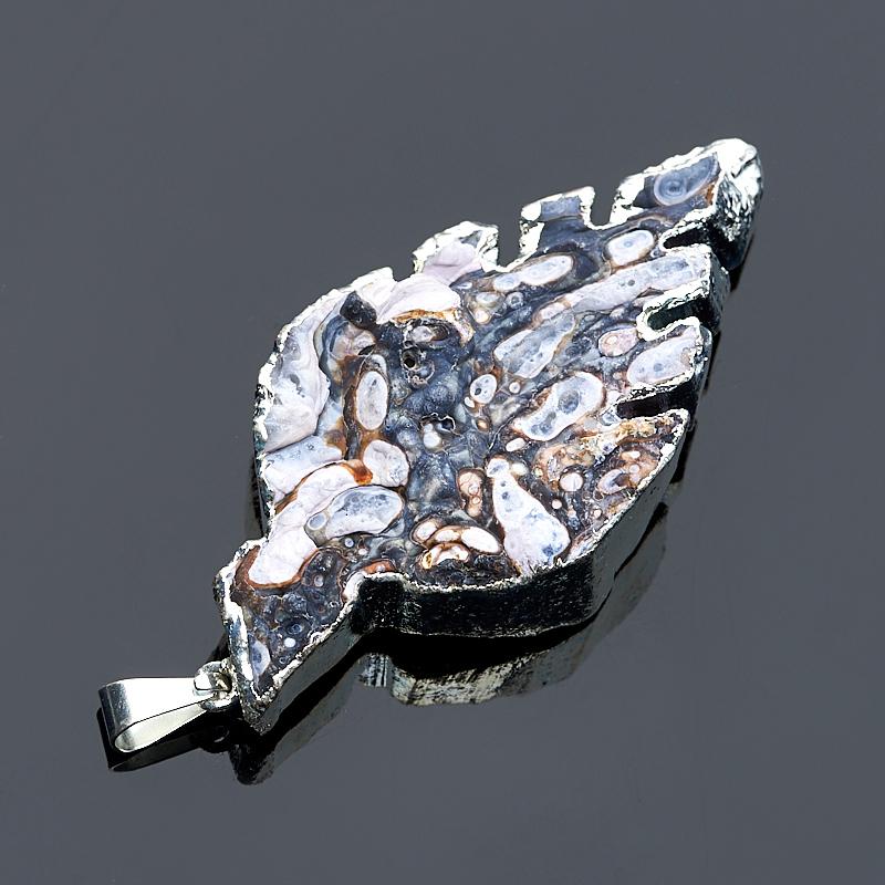 Кулон агат серый Ботсвана лист (биж. сплав)
