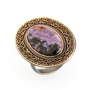 Кольцо чароит Россия (серебро 925 пр., позолота) размер регулируемый