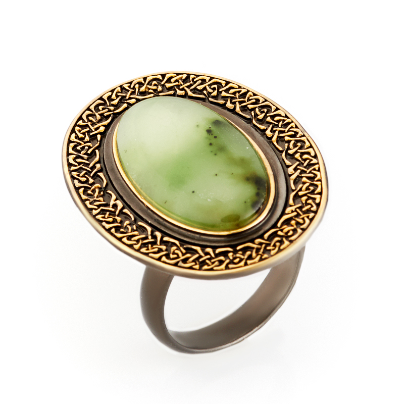 Кольцо нефрит зеленый (серебро 925 пр., позолота) размер регулируемый кольцо нефрит зеленый серебро 925 пр размер регулируемый