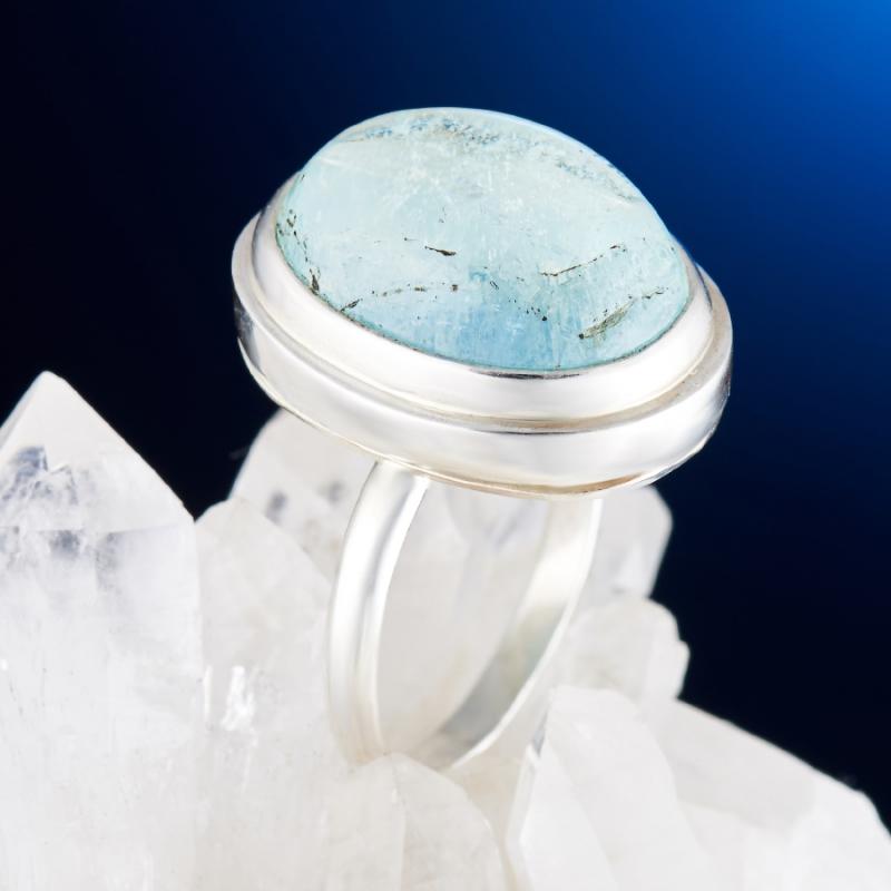 Кольцо аквамарин  (серебро)  размер 18,5