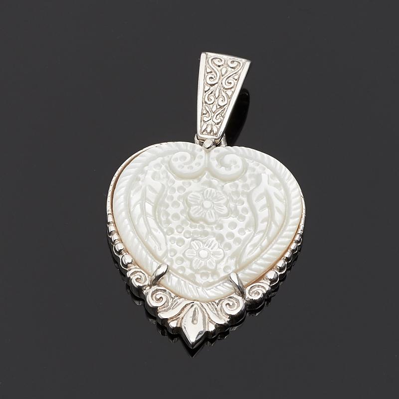 Кулон перламутр белый сердечко (серебро 925 пр.)