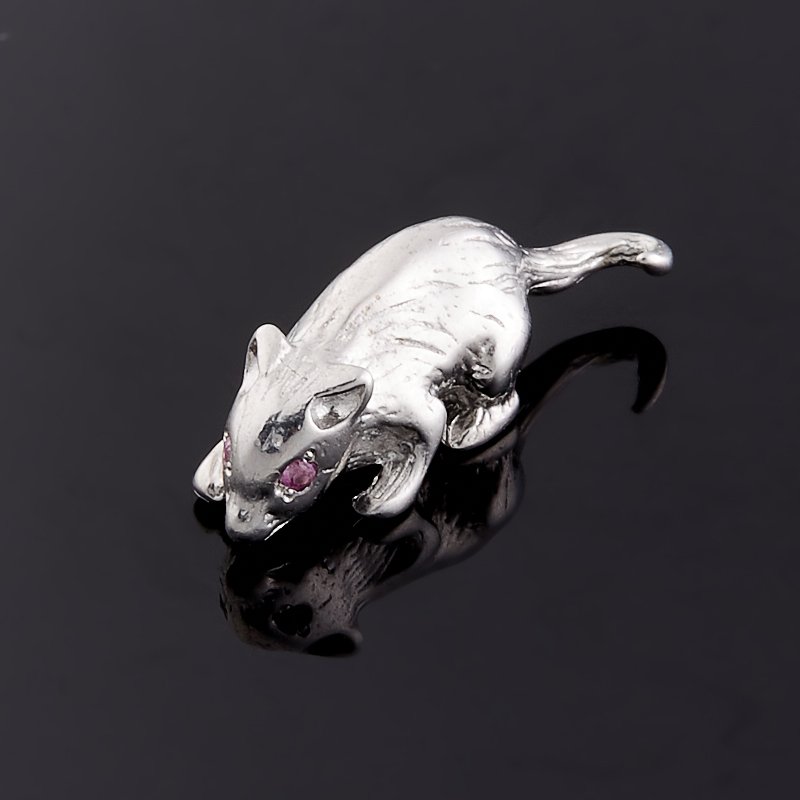 Мышка рубин (серебро 925 пр.) 1,5 см