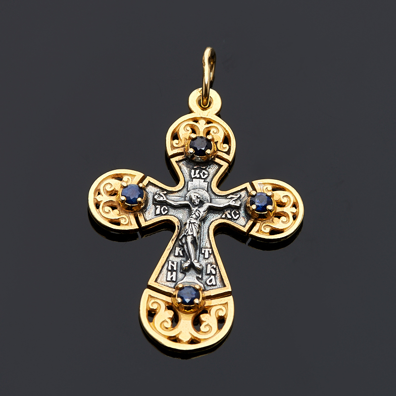 Кулон сапфир  крест огранка (серебро 925 пр., позолота)