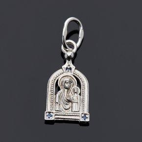 Кулон сапфир Индия огранка (серебро 925 пр.) Казанская Божья Матерь