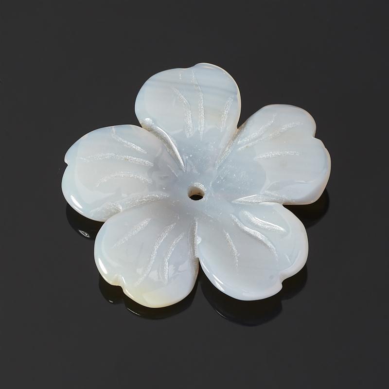 Пуговица цветок агат серый 3 см 515