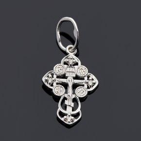Кулон бриллиант Россия крест огранка (серебро 925 пр.)