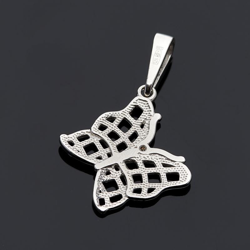 Кулон бриллиант Россия бабочка огранка (серебро 925 пр. родир. бел.)