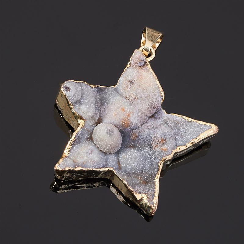 Кулон агат серый Ботсвана звезда 4 см (биж. сплав)