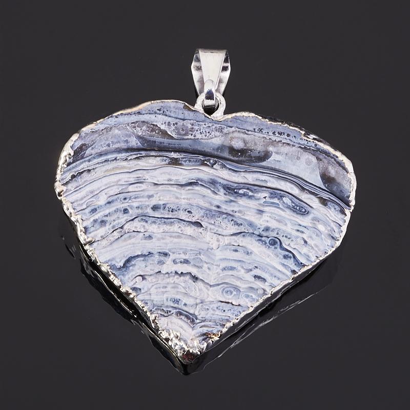 Кулон агат серый Ботсвана сердечко 3-4 см (биж. сплав)