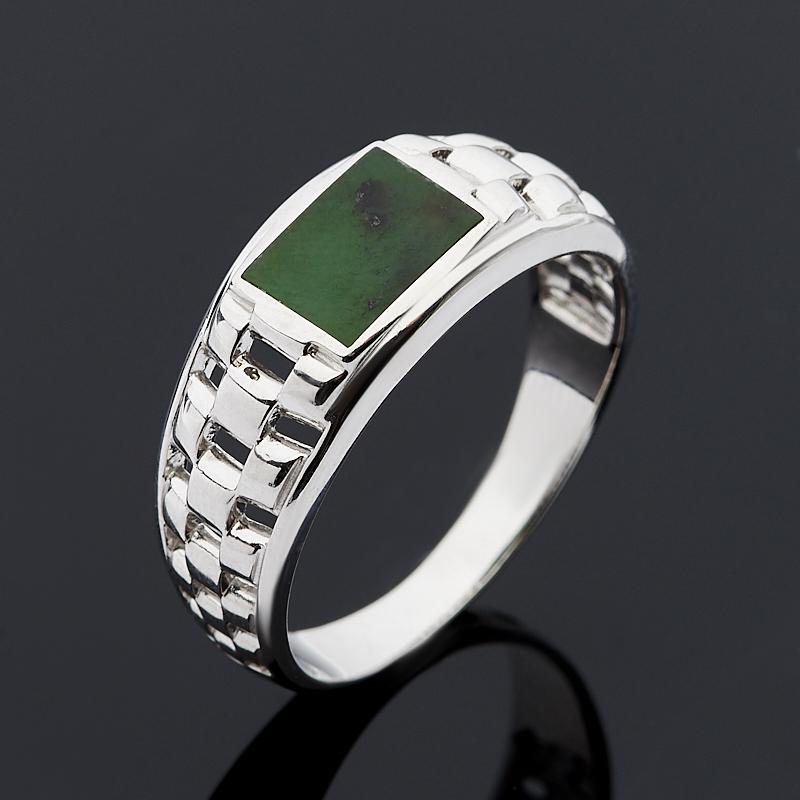 Кольцо нефрит зеленый (серебро 925 пр.) размер 20,5