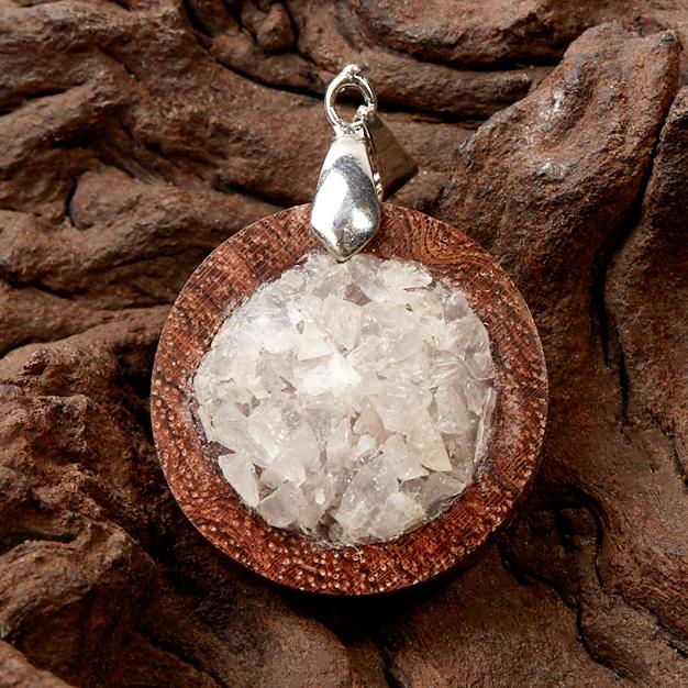 Кулон розовый кварц круг (дерево)