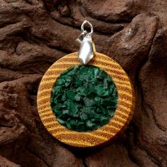 Кулон малахит Конго круг (дерево)