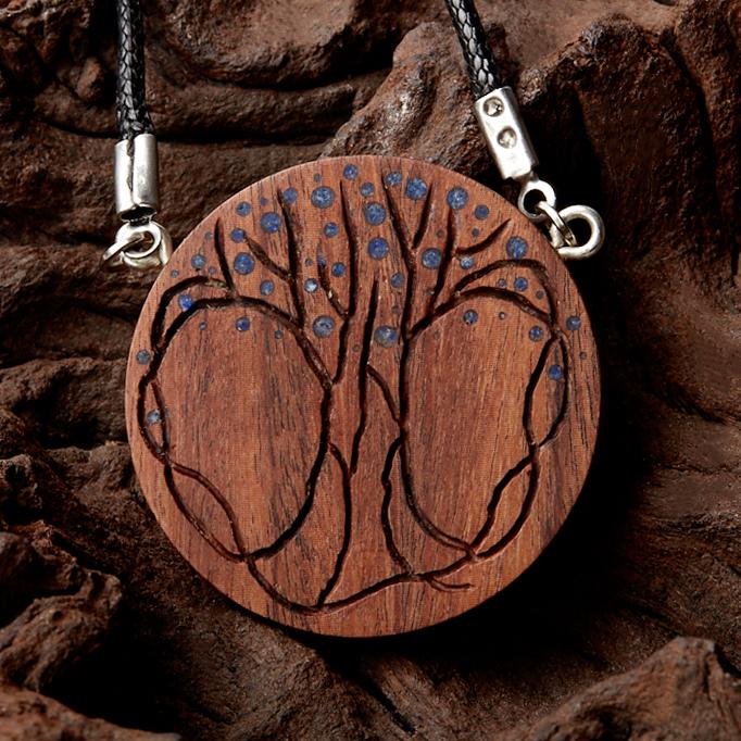 Кулон лазурит круг (дерево)