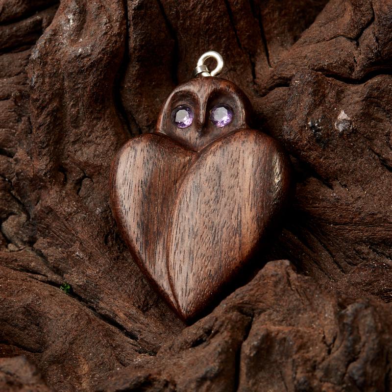 Кулон аметист  огранка (дерево)