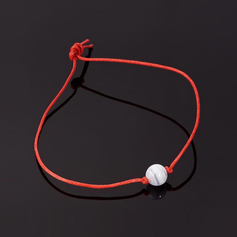Браслет агат голубой Намибия красная нить От стресса 8 мм регулируемый