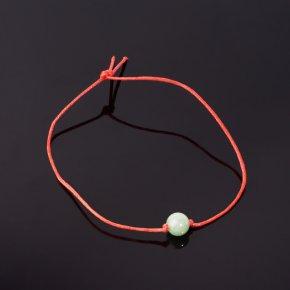 Браслет авантюрин зеленый Индия красная нить 8 мм регулируемый