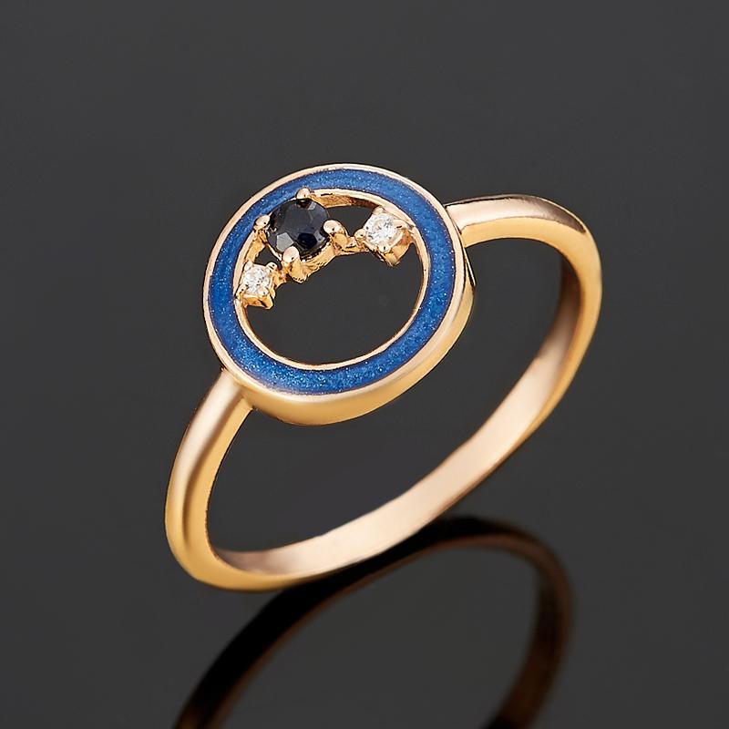 Кольцо сапфир огранка (серебро 925 пр., позолота) размер 18