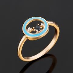 Кольцо сапфир Индия огранка (серебро 925 пр., позолота) размер 16,5