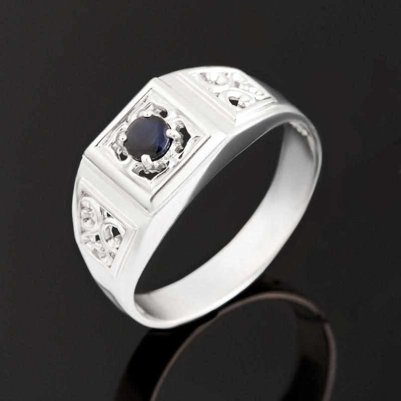 Кольцо сапфир черный огранка (серебро 925 пр.) размер 20
