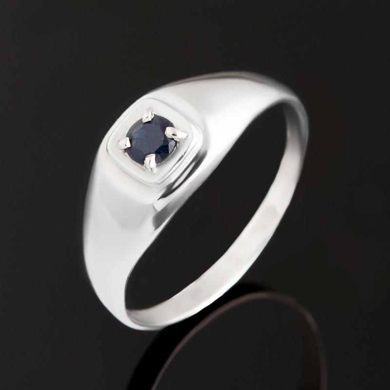 Кольцо сапфир черный огранка (серебро 925 пр.) размер 20,5
