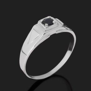 Кольцо сапфир черный Индия (серебро 925 пр. родир. бел.) огранка размер 21