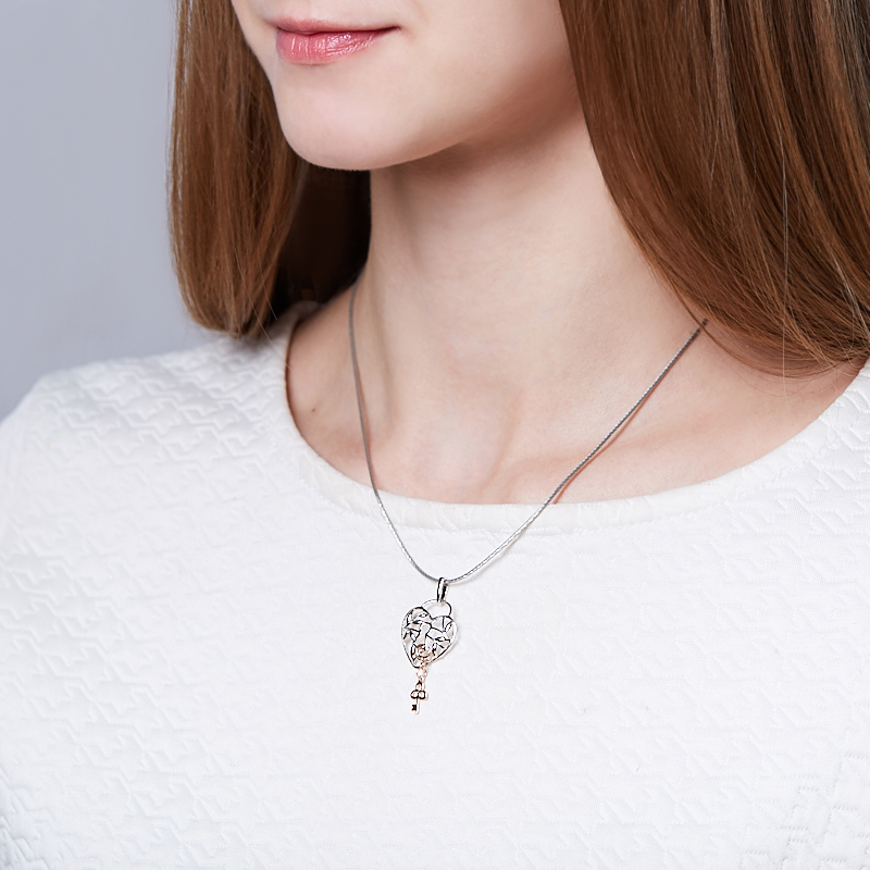 Кулон бриллиант Россия сердечко огранка (серебро 925 пр., позолота)