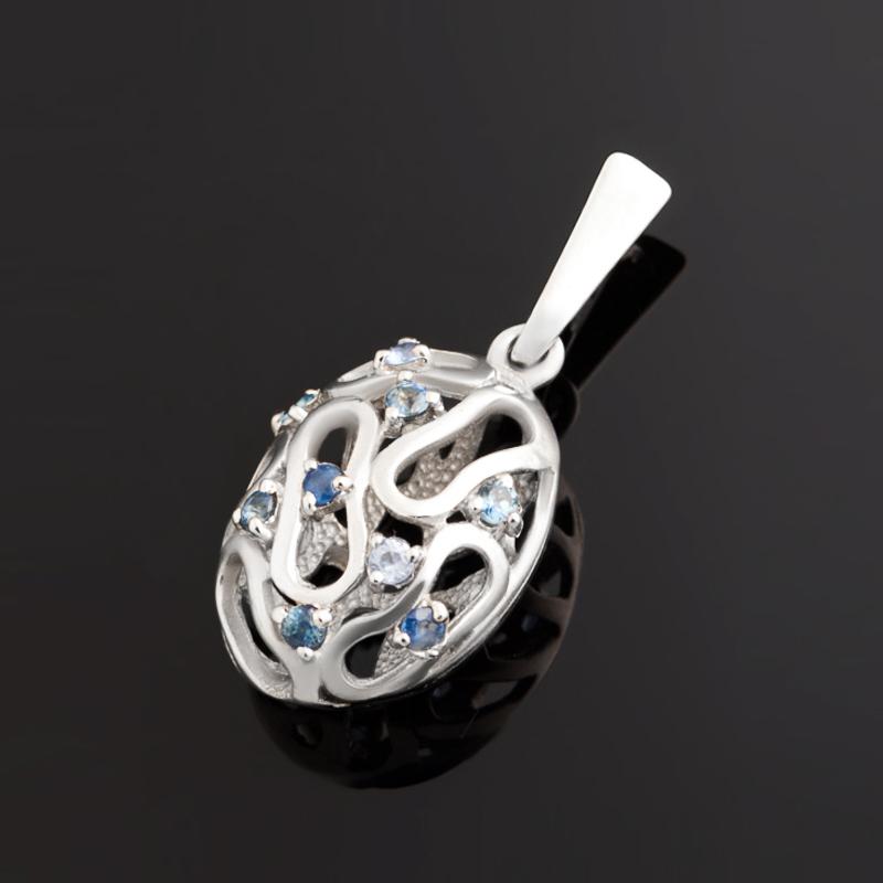 Кулон сапфир черный овал огранка (серебро 925 пр.)