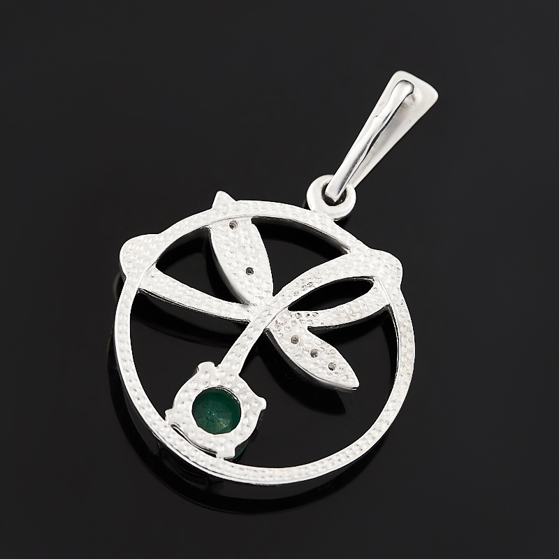 Кулон изумруд Колумбия круг огранка (серебро 925 пр. родир. бел.)