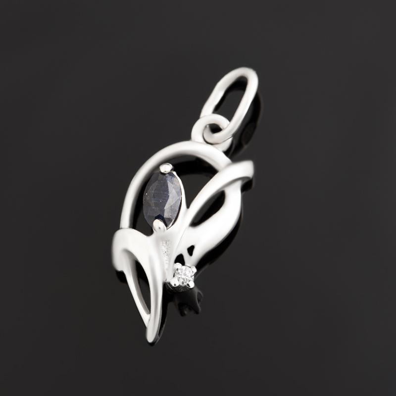 Кулон сапфир черный огранка (серебро 925 пр.)