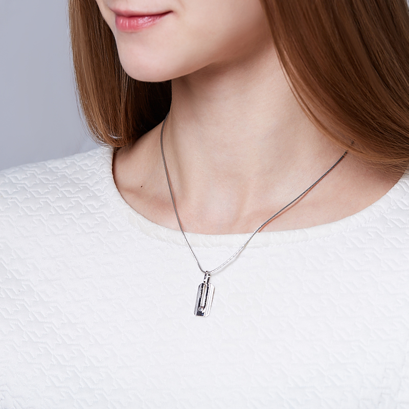 Кулон бриллиант Россия прямоугольник огранка (серебро 925 пр.)
