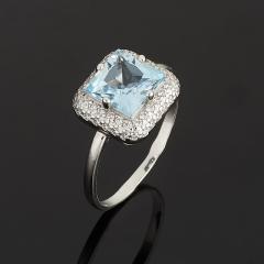 Кольцо топаз голубой Бразилия огранка (серебро 925 пр.) размер 17,5